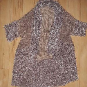 fuzzy fleece cardigan sweater